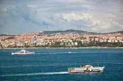 Die Ansicht des Ostufers des Bosphorus vom Topkapi-Palast Istanbul lizenzfreie stockfotografie