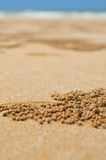 Die Ansicht des Sandes am Strand Stockfoto