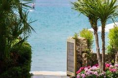 Die Ansicht durch die Palmen und die schönen roten Blumen des blauen Meeres lizenzfreie stockfotos