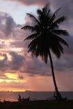 Die Ansicht an an am Himmel und dem Meer mit einer Palme und dem Boot des Sonnenuntergangs auf dem Strand Lizenzfreie Stockbilder