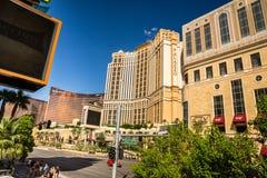 Die Ansicht Palazzo, Wynn Hotels und des Kasinos von Las Vegas Boulevard Stockfotos