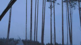 Die Ansicht vom Auto, Wischer, Auto, Schnee auf Autoglas stock footage