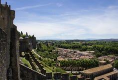 Die Ansicht vom Fenster der Festung von Carcassonne, Frankreich Stockfoto
