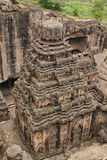 Die Ansicht von der Spitze Kailsa-Tempels, alter hindischer Stein geschnitzter Tempel, höhlen keine 16, Ellora, Indien aus Lizenzfreies Stockfoto