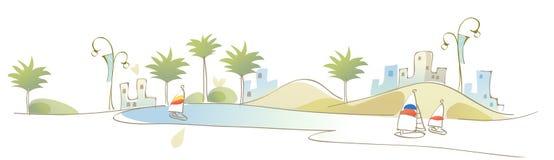 Die Ansicht von Gebäuden vor Meer Lizenzfreies Stockfoto