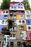 Die Ansicht von Hundertwasser-Haus Stockfoto