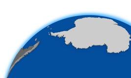 Die Antarktis auf politischer Karte der Kugel Stockfoto