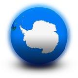 Die Antarktis auf politischer Kugel Stockbilder