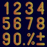 Die Anzahlen von Bändern auf einem schwarzen Hintergrund Lizenzfreies Stockbild
