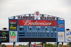 Die Anzeigetafel bei Hammond Stadium Stockfotos
