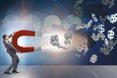 Die anziehenden Dollar des Geschäftsmannes auf Hufeisenmagneten Lizenzfreies Stockbild