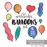 Die Aquarell-Ballone eingestellt von den Ikonen Stockbilder