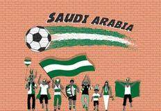 Die arabischen Fußballfane, die mit Saudi-Arabien zujubeln, kennzeichnen Farben herein für vektor abbildung