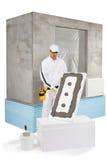 Die Arbeitskraft, die eine Isolierungsplatte hält, beschichtete mit einem Dichtungskitt Stockbild