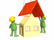 Die Arbeitsmarionetten 3d, die das Haus aufbauen vektor abbildung