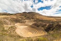 Die archäologische Fundstätte am Moray, Reiseziel in Cusco-Region und das heilige Tal, Peru Majestätische konzentrische Terrassen Lizenzfreies Stockfoto