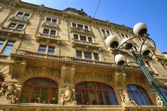 Die Architektur der alten Häuser, alte Stadt, Prag, Tschechische Republik Stockbild
