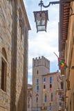 Die Architektur und die Kunst der Stadt von Arezzo stockfotos