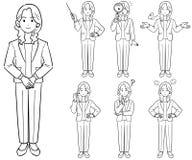 Die Arten der Geschäftsfrau 7 von Haltungen, eine Jacke 2 tragend lizenzfreie abbildung