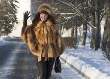 Die attraktive Frau in einem Fuchspelzmantel wird im Winter fotografiert Stockbild