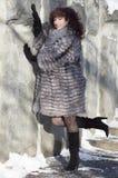 Die attraktive Frau in einem Pelzmantel vom Silberfuchs ist photog Lizenzfreie Stockfotos