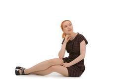 Junge Frau verloren im Gedanken Lizenzfreies Stockbild