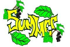 Die Aufschrift 'Sommer 'geschrieben in den Guss eines einzigartigen Autors mit Blättern und Beeren auf einen weißen Hintergrund lizenzfreie abbildung
