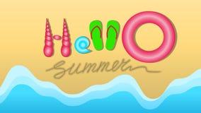 Die Aufschrift auf den Sand-hallo Sommermuschel Pantoffeln und dem s Stockfoto
