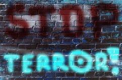 Die Aufschrift auf der Wand von Graffiti mit dem Slogan Stockfotografie