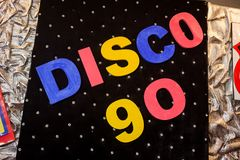 Die Aufschrift Disco 90 Stockfotografie
