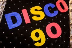 Die Aufschrift Disco 90 Stockfotos