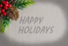 Die Aufschrift frohe Feiertage Hintergrund - Holzbeschaffenheit lizenzfreies stockfoto