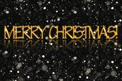Die Aufschrift frohen Weihnachten, goldene Farbe Lizenzfreies Stockbild