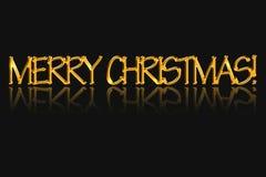 Die Aufschrift frohen Weihnachten, goldene Farbe Stockfoto