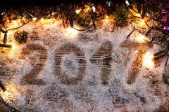 Die Aufschrift 2017 im Schnee Lizenzfreie Stockbilder