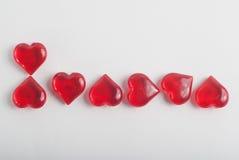 die Aufschrift von Herzen am 8. März Herzbuchstaben Lizenzfreies Stockfoto
