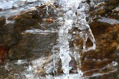 Die Auftaueneiszapfen mit fallenden Wasser fallen in die Berge Lizenzfreie Stockfotos