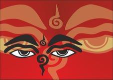 Die Augen von Buddha Stockbild