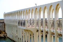 Die Aussicht des Piers von Pirgo Stockfoto