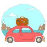 Die Autofahrten in den Bergen Lizenzfreies Stockfoto
