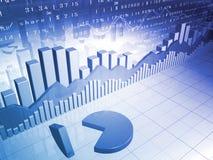 Die Börse mit 3D Kreisdiagramm und Marktdaten Lizenzfreies Stockfoto