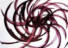 Die Bürste zeichnet halbkreisförmige Linien in der Richtung von der Mitte des Formats Harmonische Bewegung und wirbelnde Flüsse lizenzfreie stockbilder