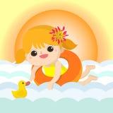 Die Baby-Schwimmen-Maskottchenkarikatur, die für irgendwelche groß ist, verwenden Vektor eps10 lizenzfreie abbildung