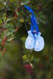 Die Babyschuhe des Babys, die am Baum mit Beeren hängen Stockfotos