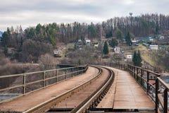Die Bahn an der Eisenbahnbrücke Stockfotografie