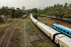 Die Bahnstation von Rangun auf Myanmar Lizenzfreies Stockbild