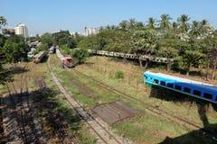 Die Bahnstation von Rangun auf Myanmar Lizenzfreies Stockfoto