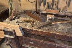 Die Bank des alten Tischlers Stockbild