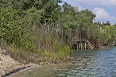 Die Bank von einem kleinen See Lizenzfreie Stockbilder
