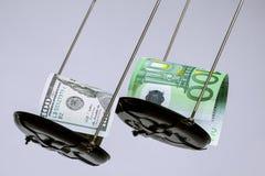 Die Banknoten des Dollars und des Euros auf der Skala Stockfotos